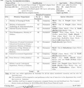 Assistant Private Secretary Jobs || FPSC Jobs Latest 2021