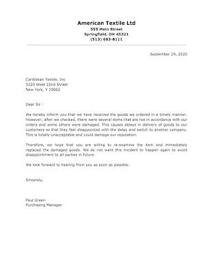 Complaint Letter for Damaged Goods