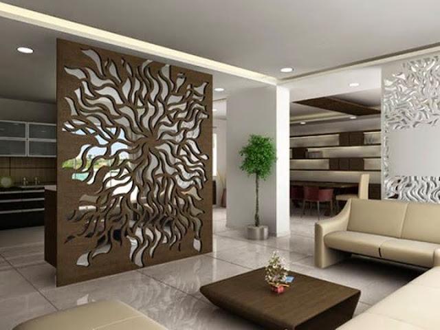 vách ngăn gỗ phòng khách đẹp- mẫu 2