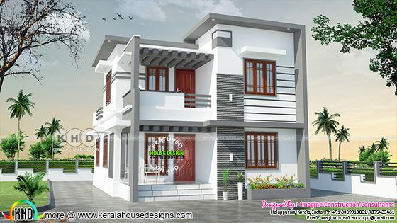 Flat roof model 1430 square feet double storied Kerala house plan
