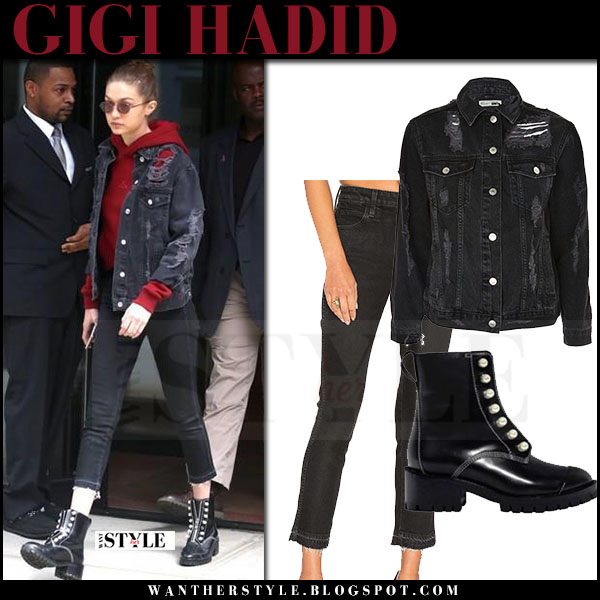 Gigi Hadid in ripped black denim jacket topshop, black amo jeans and black boots what she wore april 2017