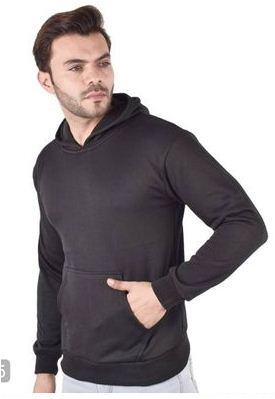 Men's Cotton Solid Long sleeves Hooded Pullover
