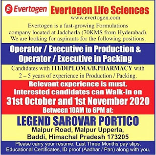 ITI/Diploma/B.Pharm Jobs Vacancy Walk In Interview for Evertogen Life Sciences Ltd at Baddi, Himachal Pradesh
