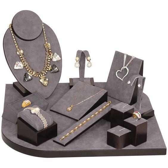 #SET6-W23 Dark Grey Vintage Jewelry Display Set