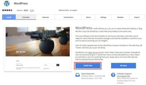 Install now wordpress