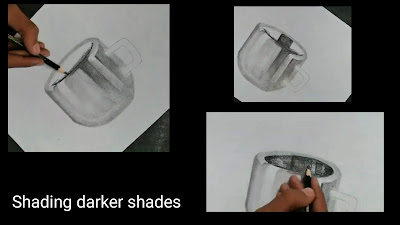 Shading darker shades, easy tutorial of cup drawing,Drawing realistic steel cup drawing, how to draw cup, step by step tutorial of Cup , easy drawing for begginers, drawings for kids, graphite pencils drawing