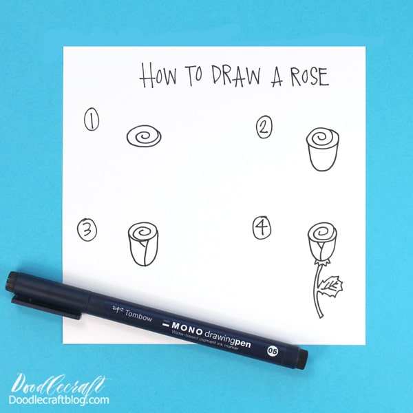 When I was in elementary school, I learned how to draw this cute swirl rose. 🌹🌹🌹 I doodled this on every note, worksheet margin and blank paper that was passed my way. I think it's important to teach people how to draw simple images, to build confidence and success in small ways--whether they are artistic or not. So get some paper and the Tombow MONO Drawing Pen 05 and doodle a simple rose.