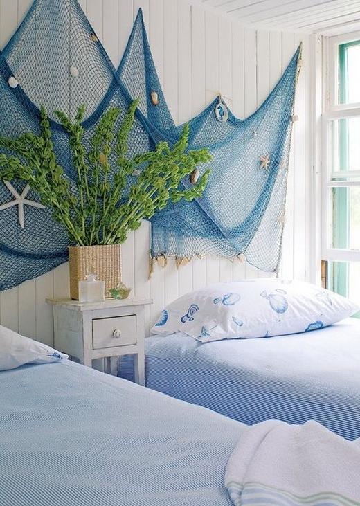 Blue Bedroom Fishnet Wall Hanging