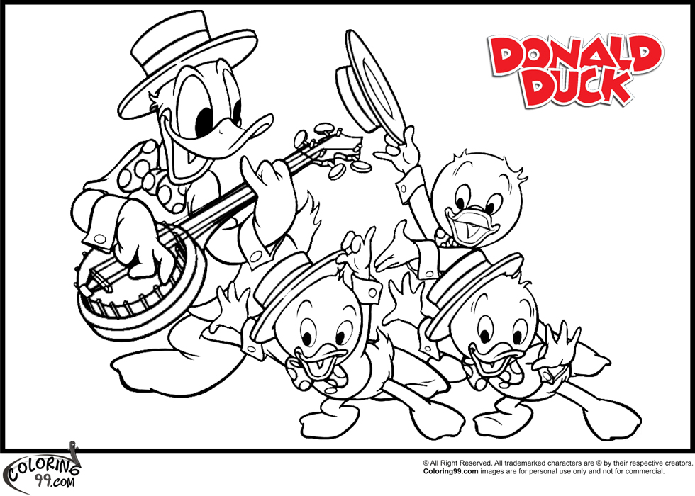 donald duck and his nephiews coloring pages team colors