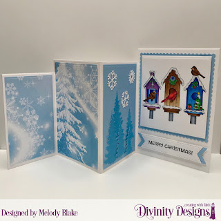 Christmas Dove, Custom Dies: Four Panel Fold Card with Layers, Scalloped Squares, Double Stitched Pennant Flags, Squares, Trees & Deer, Paper Collection: Christmas  2019