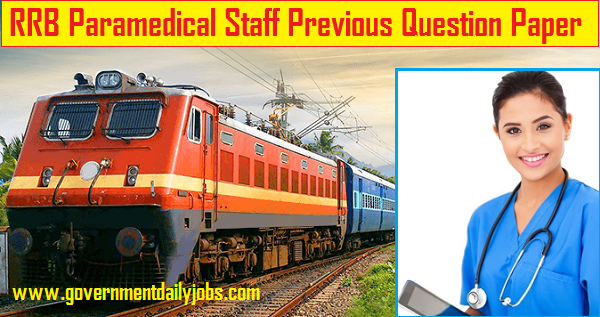 RRB Paramedical Staff Model Question Paper 2020