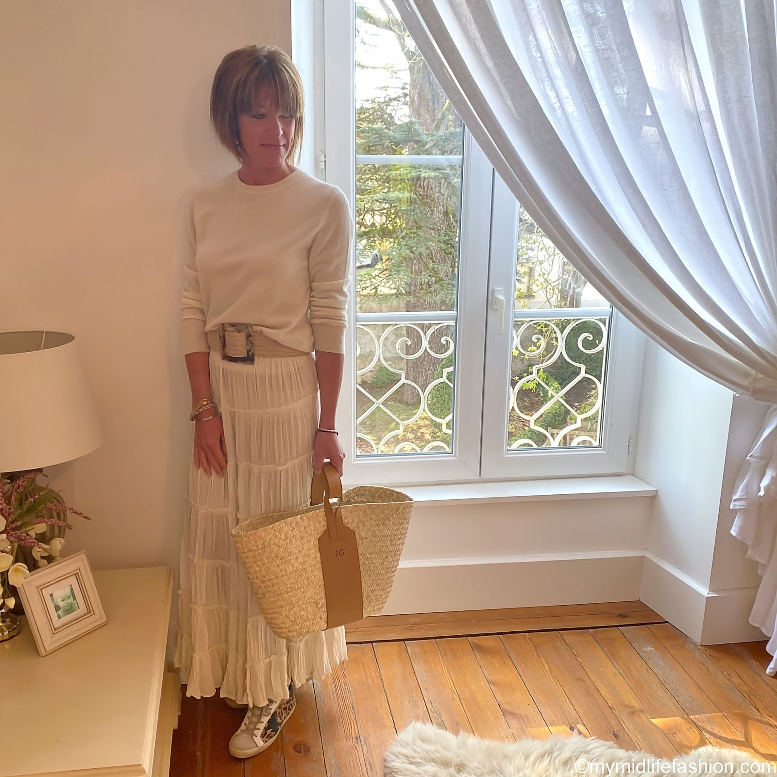 my midlife fashion, marks and Spencer pure cashmere round neck jumper, zara woven jute belt, Ralph Lauren tiered maxi skirt, rae feather tiered maxi skirt, golden goose superstar leopard print trainers
