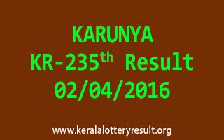 KARUNYA KR 235 Lottery Result 2-4-2016