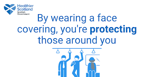 Face coverings protect those around you Scottish health advice shows inside of tube carriage with 3 illustrated cartoon passengers using face masks or scarves