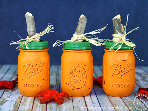 Adorable DIY Pumpkin Mason Jars