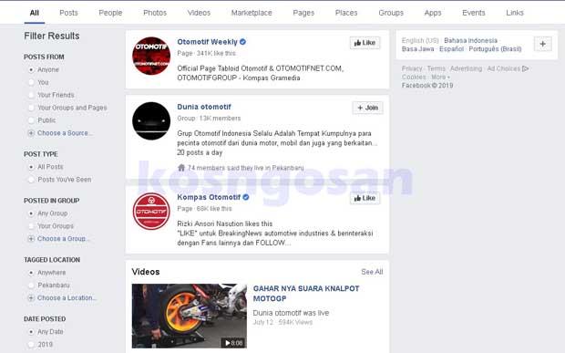 halaman facebook otomotif