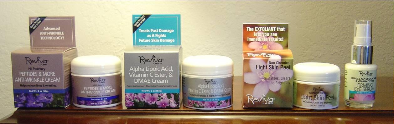 Reviva Labs Light Skin Peel Exfoliant, Peptides & More Anti-Wrinkle Cream, Alpha Lipoic Acid, Vitamin C Ester & DMAE Cream, and the DMAE Alpha Lipoic Acid & Vitamin C Ester Firming Eye Serum.jpeg