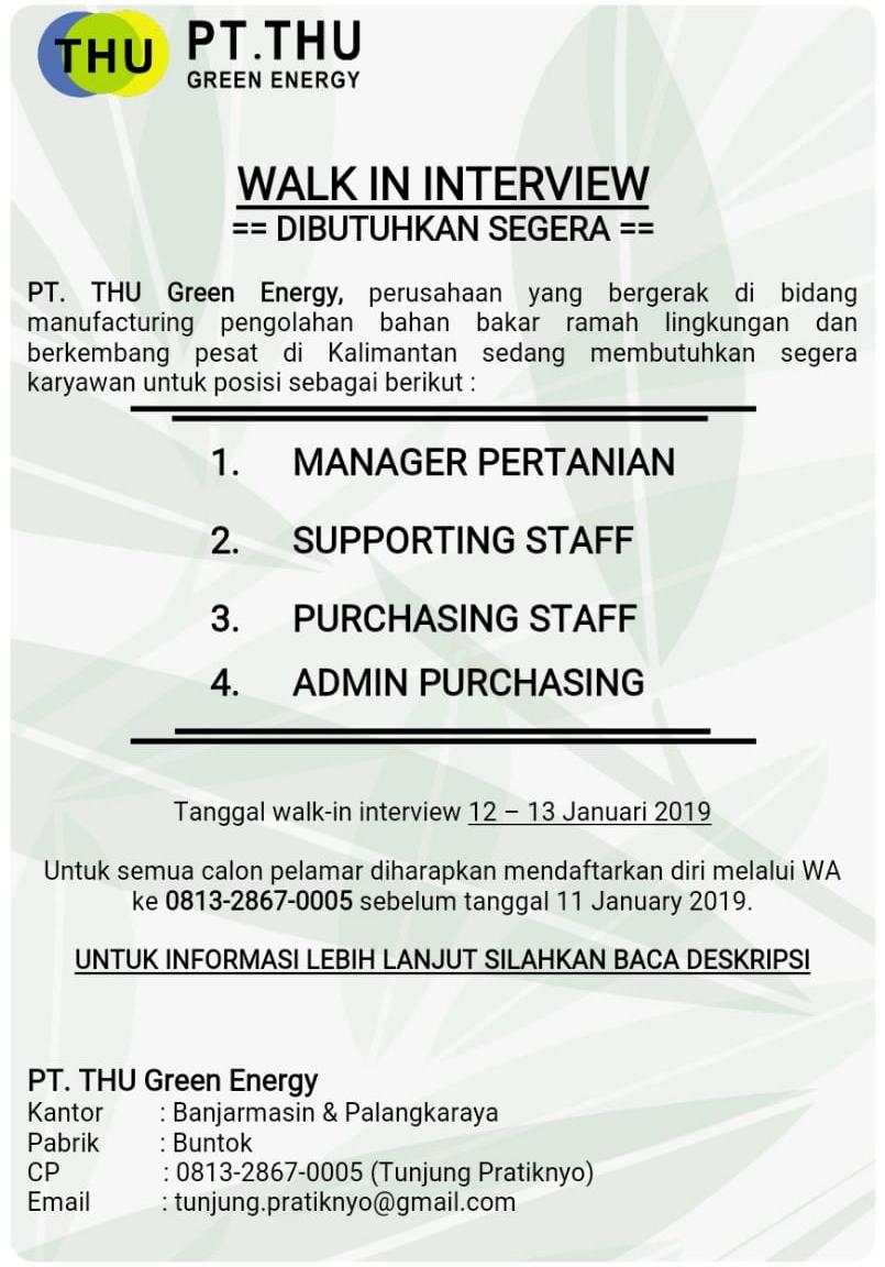 Lowongan Kerja Pt Thu Green Energy Januari 2019 Kalimantan Tengah