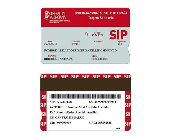 Nueva Tarjeta Sanitaria SIP - Comunidad Valenciana