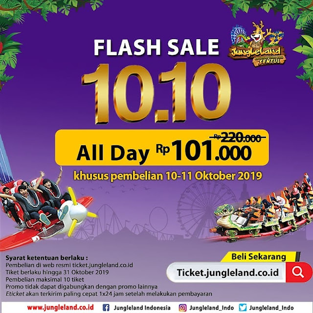 #JungleLand - #Promo Flash Sale 10.10 All Day Hanya 101K (10 - 11 Okt 2019)