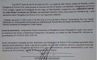Veja auto de apreensão de carga roubada de arroz destinada ao Governo da Paraíba