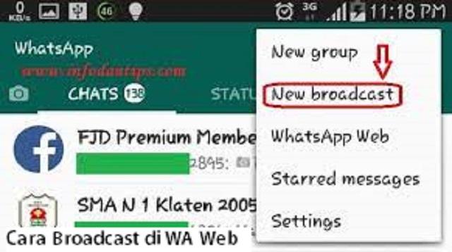 Cara Broadcast di WA Web
