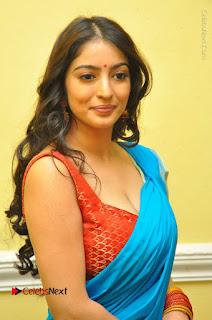 Telugu Actress Vaibhavi Stills in Blue Saree at Www.Meena Bazaar Movie Opening  0038.JPG