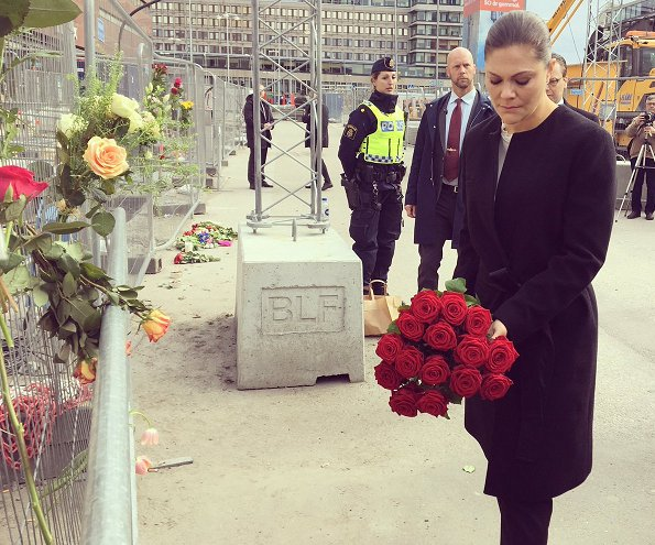 Crown Princess Victoria and Prince Daniel have this morning visited the scene of yesterday's terror attack at a shopping centre in central Stockholm