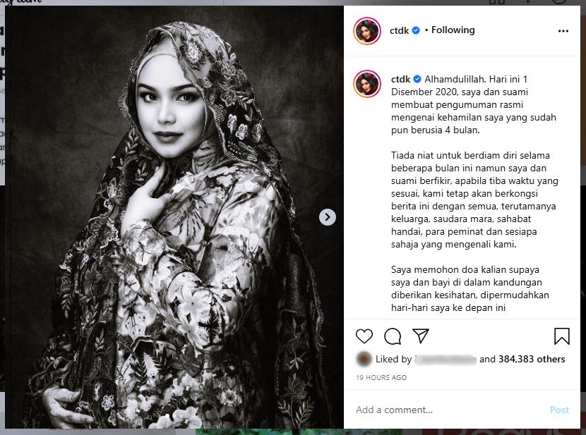 Tahniah! Dato' Sri Siti Nurhaliza Kini Hamil Anak Kedua!