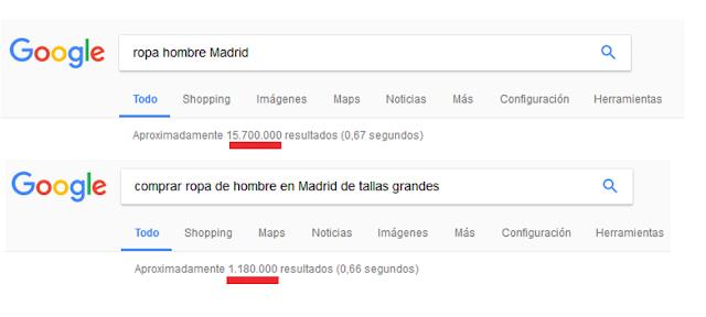 Ejemplo de búsqueda Long Tail en Google para ver la diferencia de resultados entre una búsqueda genérica y una búsqueda específica.