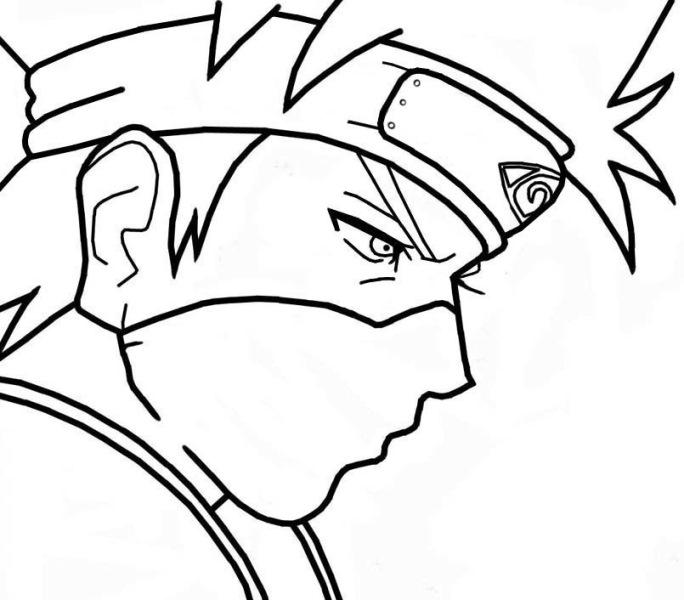 Sketsa Gambar Animasi Naruto Untuk Diwarnai Guru Kakashi
