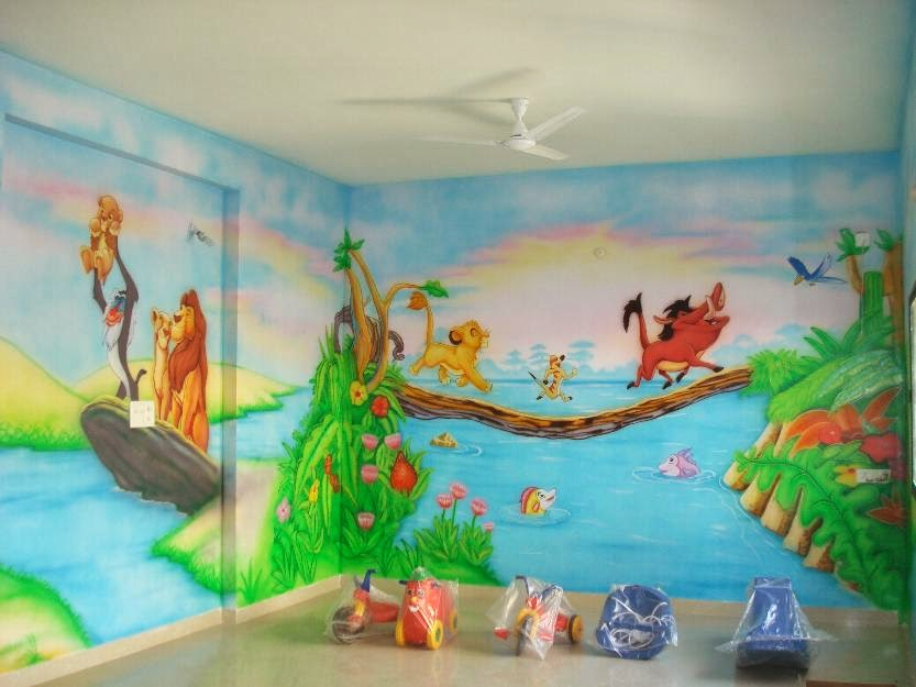 Wall Art For Play School : Play school wall painting