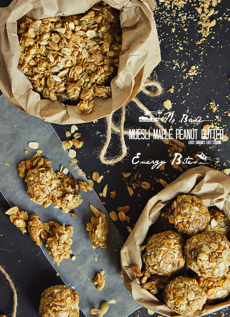 Recipe for {No Bake} Muesli Maple Peanut Butter Energy Bites