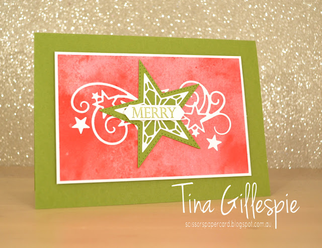 scissorspapercard, Stampin' Up!, Art With Heart, Heart Of Christmas, Merry Christmas To All, Stitched Stars Dies, See A Silhouette DSP, Christmas