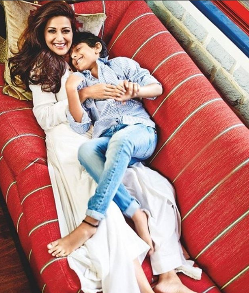 Sonali Bendre  on a Son