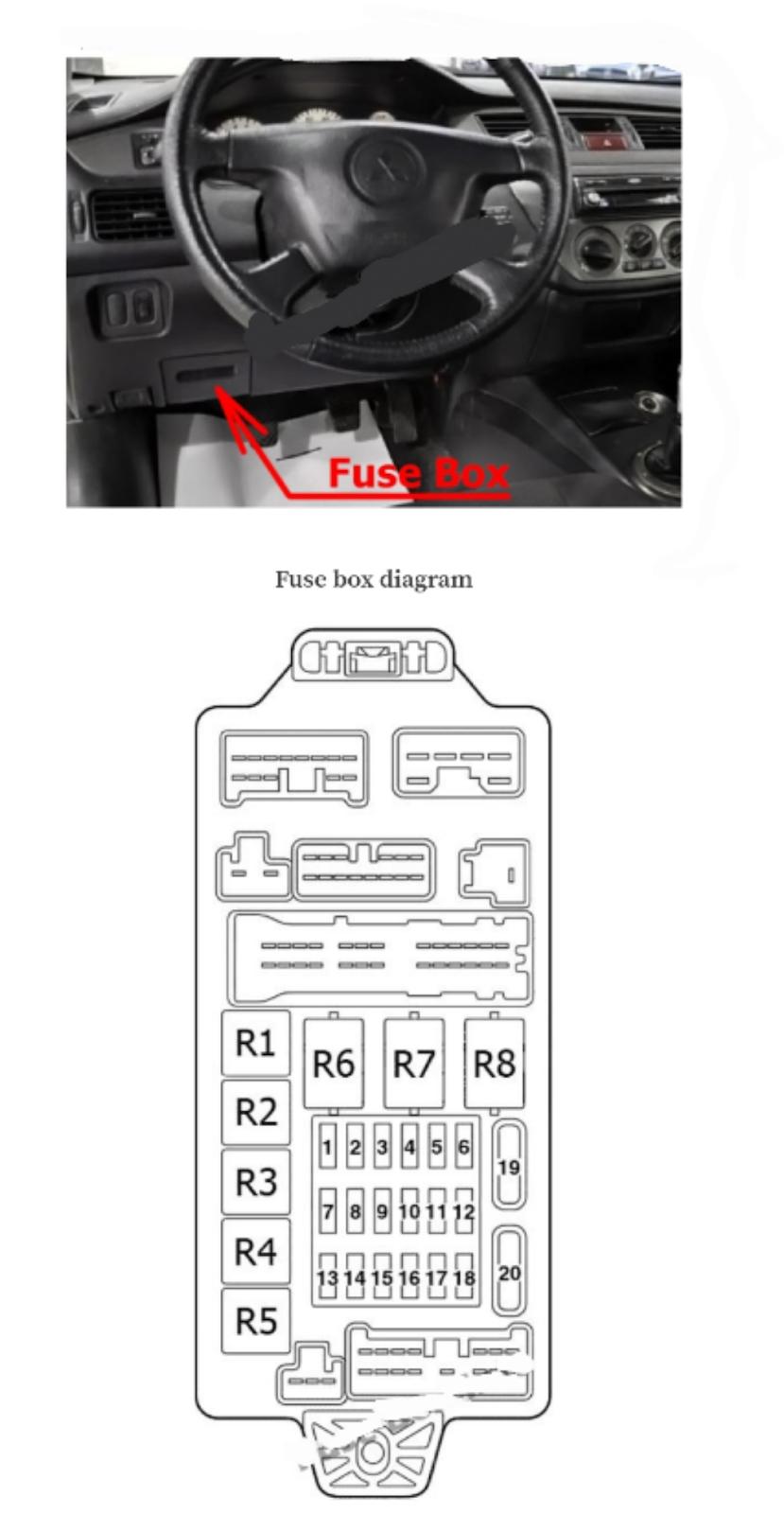 fusebox relay MITSUBISHI LANCER 2000-2007