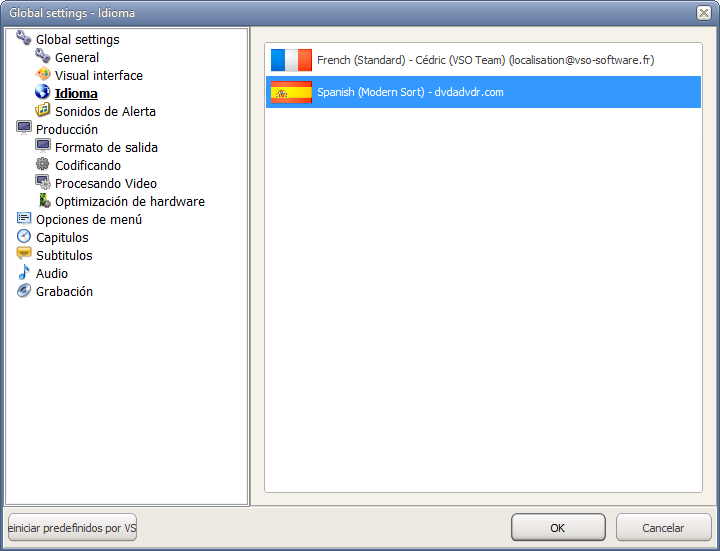 how to change language on dvd vcds