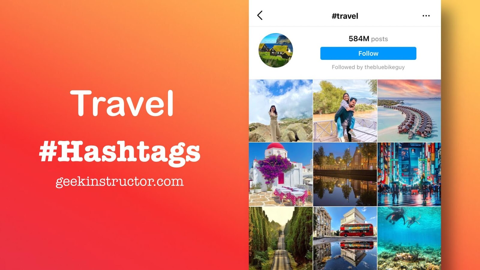 Most popular travel Instagram hashtags