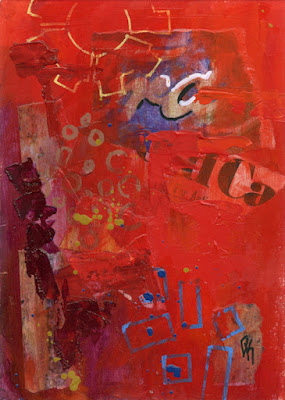 art acrylic abstract collage red rust
