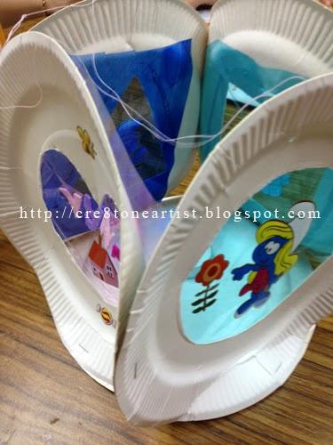 Little Artist : Smurf Paper Plate Lantern
