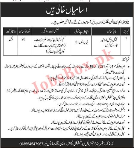 Pakistan Army Jobs Latest – 32 EME Battalion Gilgit Jobs 2021