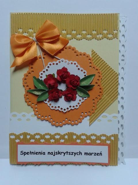 kartka urodzinwa różyczki kokarda