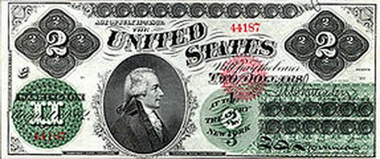 2 доллара  1862 год