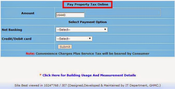 GHMC Property Tax Payment Online Information ...