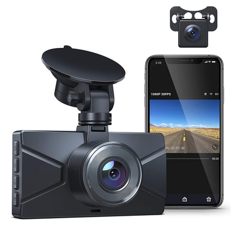 Crosstour CR650 WiFi Dash Cam for Cars Front and Rear