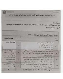 دليل تصحيح اللغة العربية للصف السادس