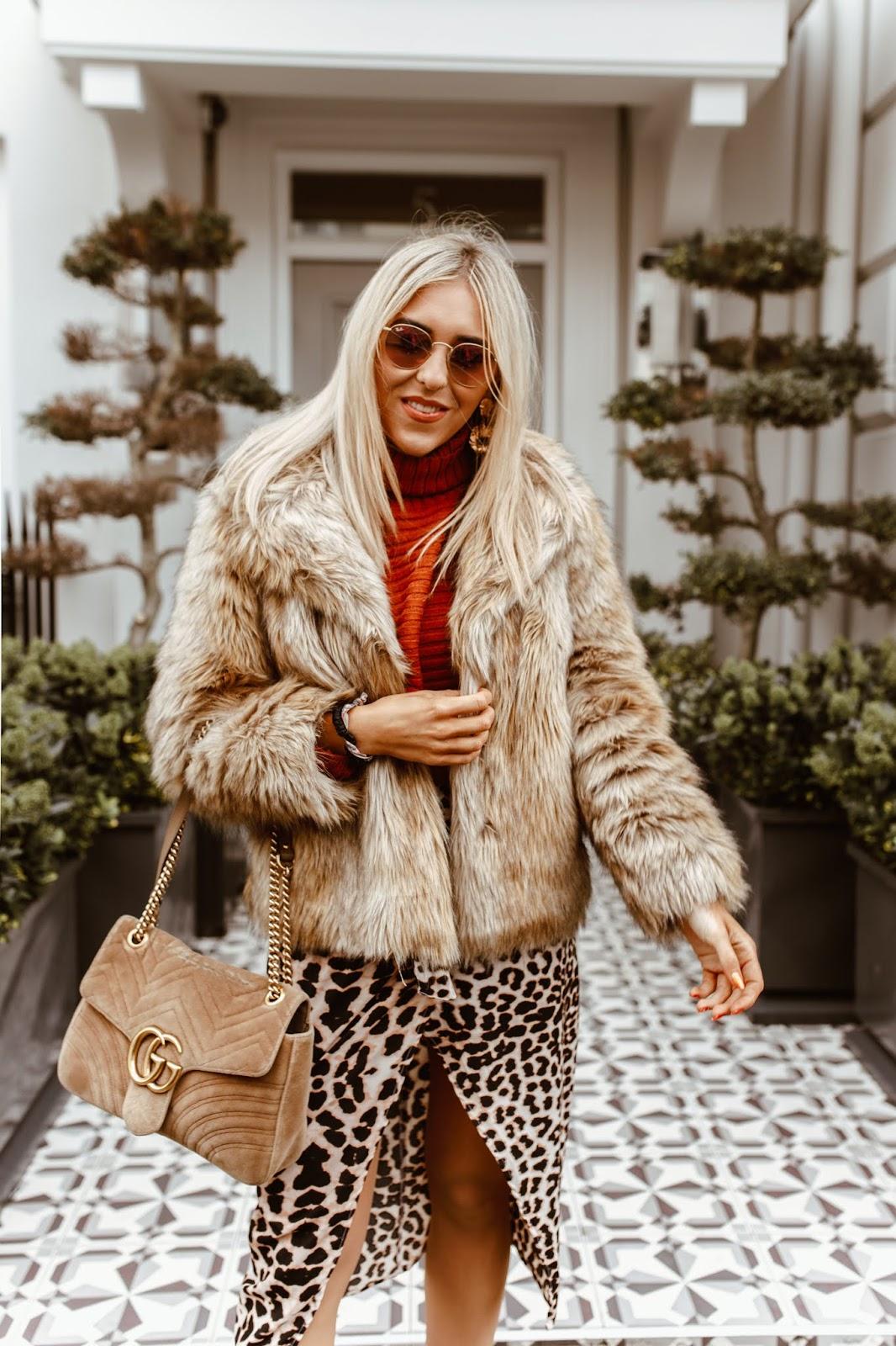 leopard print slit skirt