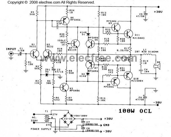 100W ocl amplifier schematic