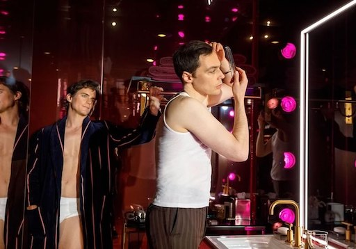 Matt Bomer, in his underwear on the left, stars in The Boys in the Band with Jim Parsons (right)