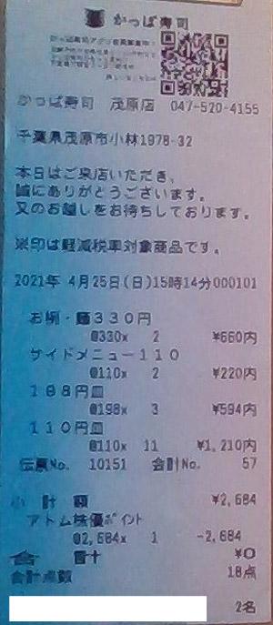 かっぱ寿司 茂原店 2021/4/25 飲食のレシート